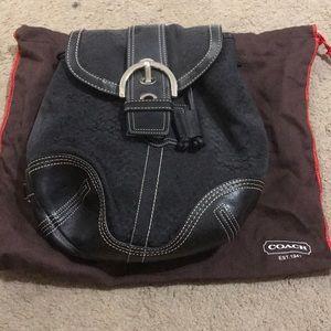 Coach black signature backpack